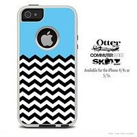 The Solid Blue and Chevron Pattern Skin For The iPhone 4-4s or 5-5s Otterbox Commuter Case