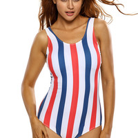Teen Trio-color Vertical Stripes Lace Up Back One Piece Swimsuit