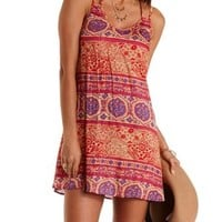 Coral Strappy Boho Print Shift Dress by Charlotte Russe
