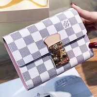 Hipgirls  LV Louis Vuitton women new fashion tartan monogram Leather wallet purse