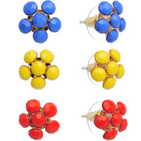 Bright Blue Yellow and Red Summer Flowers Stud Earring 3 Pair Set | Body Candy Body Jewelry
