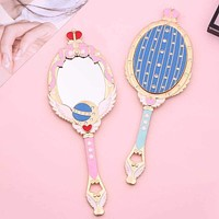 Sailor Moon Metal Oval Hand Held Makeup Mirror Ladies Girl Crown Mirror Beauty Dresser Makeup Tool Pink Blue Mirror With Crystal