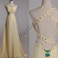 Long Yellow Backless Prom Dresses,Beaded Crystal Prom Dresses 2015,Long Yellow Evening Dresses,Bridesmaid Dresses,Homecoming Dresses