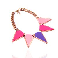 Colorful Lucite Triangle Chain Necklace