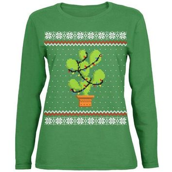 CREYON Cactus Prickly Pear Tree Ugly Christmas Sweater Womens Long Sleeve T Shirt