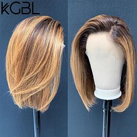 """KGBL Short Bob Ombre 4/27 Color 13*4 Lace Front Middle Ratio 8""""-16"""" Human Hair Wigs  Brazilian Non-Remy Hair   Pre-Plucked Wigs"""