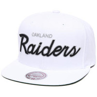 Oakland Raiders NFL Throwbacks All White Snapback Hat by Mitchell & Ness