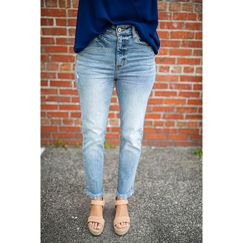 High Rise Ankle Fray Girlfriend Jean