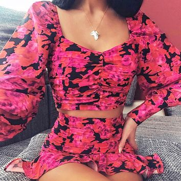 Autumn new style square neck lantern long sleeved shirt ruffled pleated top and skirt two piece suit Rose Red