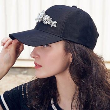 Adjustable Rhinestone Snapback Casual Travel Baseball Cap