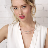 Double Down Collar Necklace - Silver