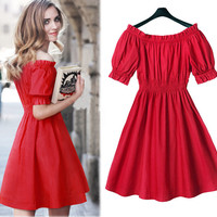 Off Shoulder Red Elastic Waist Dress