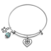 Heartfelt – Expandable silver tone bangle heart charm bracelet with turquoise magnesite bead