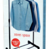 single pole rolling clothes hanger with shoe rack