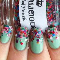 Speckled Punch - Blue Red Pink Matte Glitter Custom Indie Nail Polish
