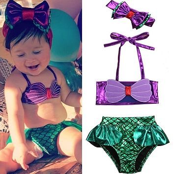 Toddler Baby Girls Kids Mermaid Summer Beach Swimwear Swimsuit Bikini Playsuit