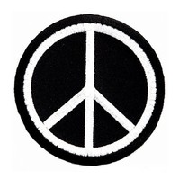 Peace Sign Embroidered Patch Anti-War Hippie Iron-On Symbol Black