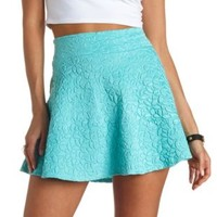 High-Waisted Textured Skater Skirt by Charlotte Russe - Mint