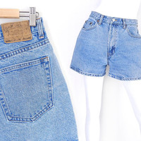 Size 8 High Waisted GAP Denim Shorts - 80s 90s Vintage - Stone Washed Women's Hemmed All Cotton Jean Shorts