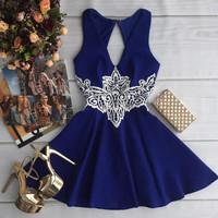 V-Neck Lace Cut Out Dress