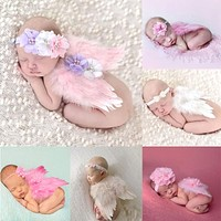 born Photography Props Costume Cute Angel Wings+Headband Photo Props Infant Baby Girls Boys Outfits Accessories PLA983968