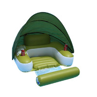 """62.5"""" Green UV-Cut Inflatable Swimming Pool Lounger Float with Sunshade"""
