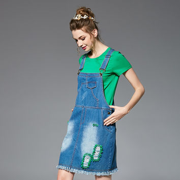 Denim Overall Dress Set Two Piece Plus Size Dresses Women Fashion Style Summer Outfit L to 4xl 5xl