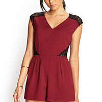 FOREVER 21 Ornate Lace Romper Burgundy/Black