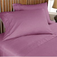 1000TC Egyptian Cotton Dark Lavender Solid Fitted Sheet and Duvet Cover Set 4pc