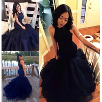 Navy Fitted Prom Dress For Teens, Prom Dresses, Evening Gown, Graduation School Party Gown, Winter Formal Dress, DT0195