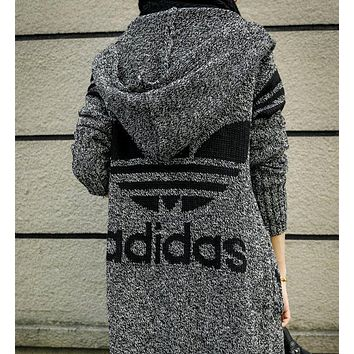 Adidas Hooded Sweater Knit Cardigan Jacket Coat