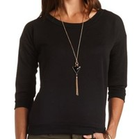 Geometric Embossed Crew Neck Top by Charlotte Russe