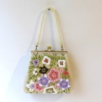 Mid century 1960s flower glass bead evening formal handbag