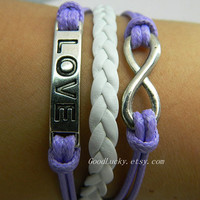 Unisex simple fashion silver 8 infinity wish and LOVE leather bracelet-- Adjustable white and Violet Wax rope  Braided Bracelet