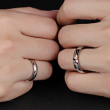 Heart-shaped puzzle titanium steel lovers ring
