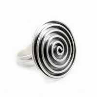 Sterling Silver Large Ring,Silver Signet Statement Ring,Spiral Ring,Black Oxidized Silver Disc Ring,Tribal Boho Ring, Handmade