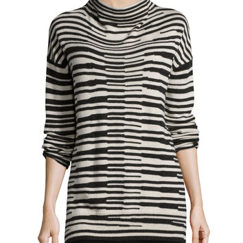 Long-Sleeve Stacked Striped Top, Petite, Size: