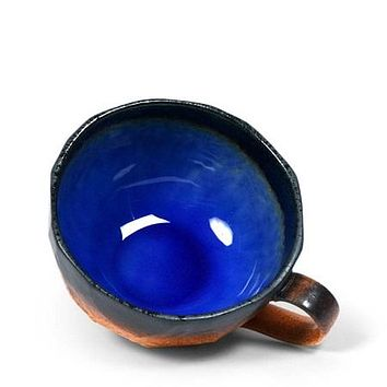 Wide stoneware cup with cobalt blue or green interior