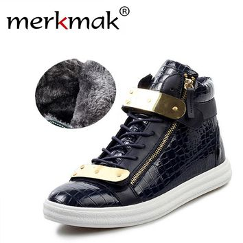 New Stylish Men's Flats Lace-Up Warm Fur Boots Leather Waterproof Mens Boots LS126