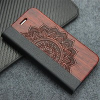 Retro Luxury Leather Flip Case for Samsung Galaxy S8 S7 edge Plus Natural Real Wood Phone Cover with Stand for iPhone 7 7 Plus