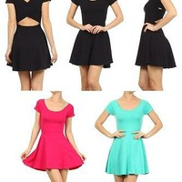 Sexy Solid Round Neck A-Line Flare Skater Knit Tee Shift Mini Dress Cutout Back
