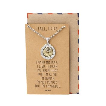 Fanny Phoenix on Plate Pendant Women Necklace, Bird Charm with Motivational Quote Card