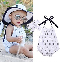 Newborn Kids Infant Baby Girl Jumpsuit Anchor Printed Bodysuit Clothes Outfit + Headband 2016