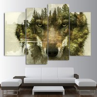 Spirit Guide of the Forest Wolf HD 4 Panel Painting