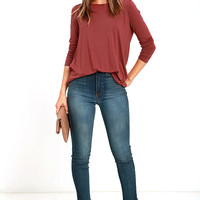 Twist in Time Washed Maroon Long Sleeve Top