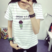 SIMPLE - Fashion Stripes Women Slim Short Sleeve T-shirt Top b4788