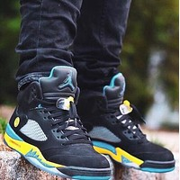 NIKE AIR JORDAN 5 Shanghai Classic Men Sport Shoes Basketball Sneakers Black&Yellow&Blue