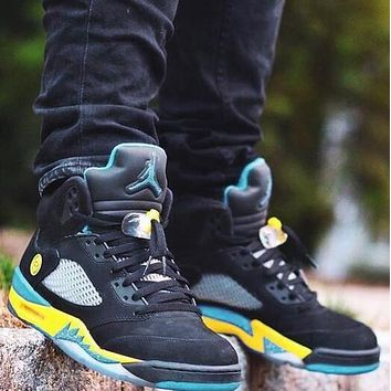 Bunchsun NIKE AIR JORDAN 5 Shanghai Classic Men Sport Shoes Basketball Sneakers Black&Yellow&Blue