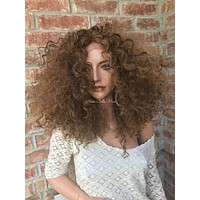 Balayage Curly Human Hair Blend Multi Parting Lace Front Wig - Ross
