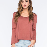 Taylor & Sage Crochet Lace Womens Tee Clay  In Sizes
